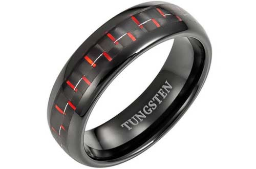 Willis Judd Mens Band Red Carbon Fiber Ring