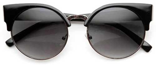 Round Circle Half Frame Semi-Rimless Cateye Sunglasses