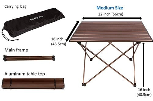 Portable Camping Table with Aluminum Table Top