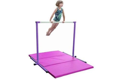 Horizontal Bar and 6ft Pink Folding Gym Mat
