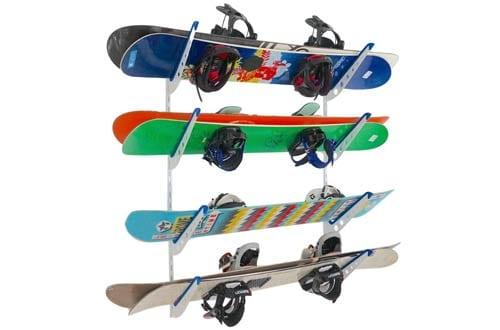 Adjustable Metal Snowboard Storage Rack for Home Wall Mount