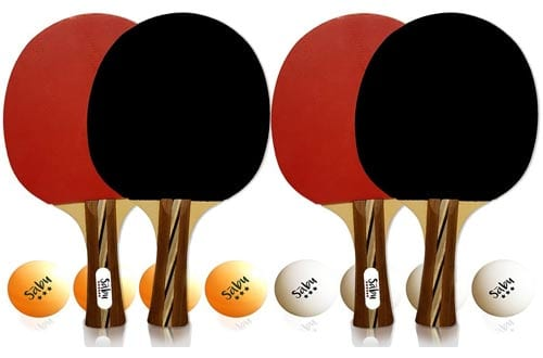 Performance 6 Star Ping Pong Paddle Set - Professional Table Tennis Racket Kit