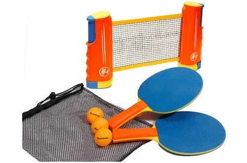 Harvil Portable and Retractable Table Tennis Net Set To-Go with FREE Balls, Rackets, and Mesh Bag