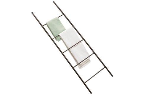 mDesign Free Standing Bath Towel Bar Storage Ladder
