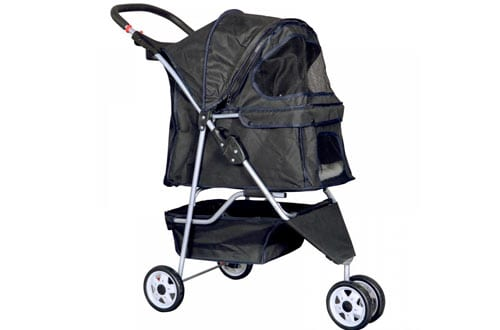 New Black Pet Stroller Cat Dog Cage 4 Wheels Stroller