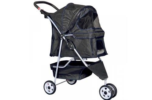 New Black Pet Stroller Cat Dog Cage 4 Wheels Stroller