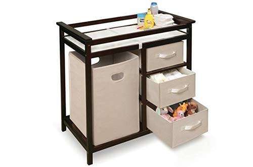 Badger Basket Modern Changing Table with Hamper/3 Baskets