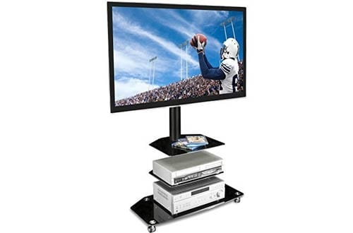 Mobile TV Stand with Rolling Casters & 3-Tiered Glass Shelving