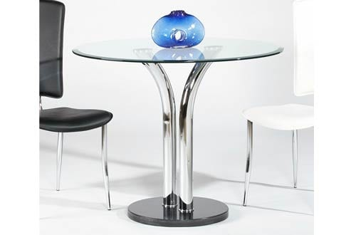 Milan TINA-DT Tina Clear Round Glass with Beveled Edge Bistro Dining Table