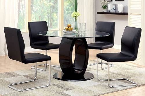 Furniture of America Quezon Round Glass Top Pedestal Dining Table
