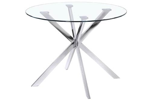 Uptown Club Round Glass Top Dining Table