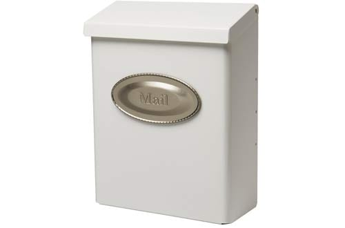 Gibraltar Galvanized Steel White Wall-Mount Mailbox