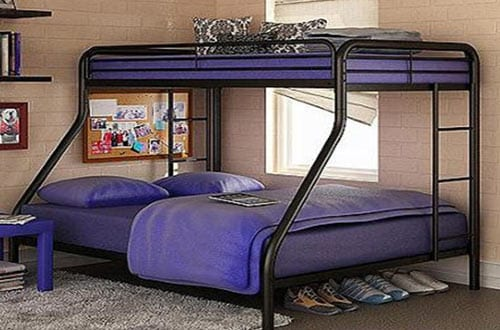 Sturdy Twin Over Full Metal Bunk Bed with Stairs