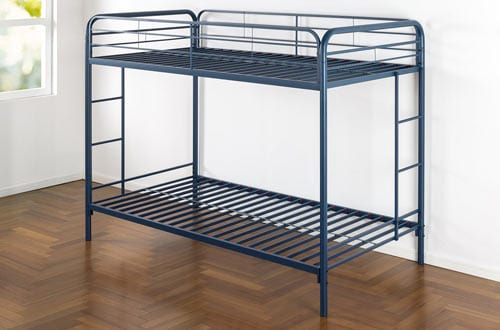 Metal Bunk Bed with Dual Ladders