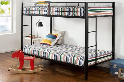 Zinus Twin Metal Bunk Bed with Dual Ladders
