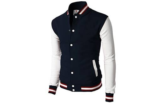 H2H Mens Slim Fit Varsity Baseball Bomber