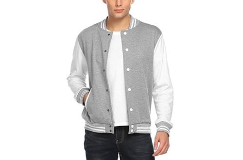 COOFANDY White Long Sleeve Baseball Jacket for Men