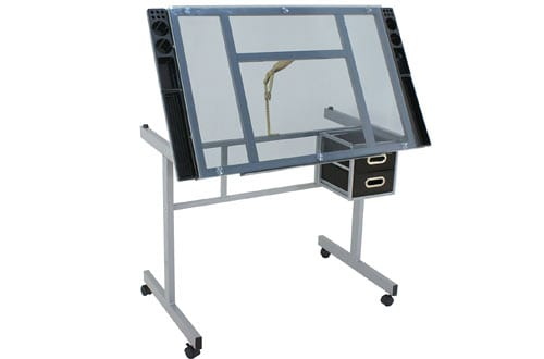 ZENY Adjustable Glass Top Drawing Desk