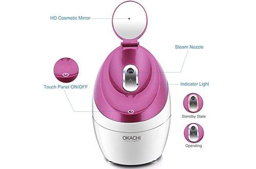 OKACHI GLIYA Portable Facial Steamer For Acne Treatment