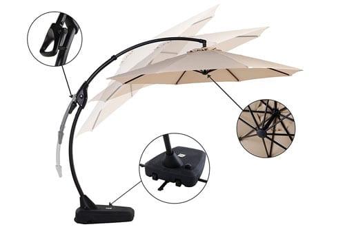 Grand patio Deluxe 10 FT Curvy Aluminum Offset Patio Umbrella