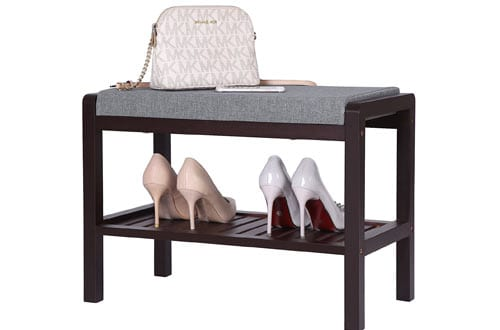 Brown Small Entryway Shoe Rack Bench with Cushion