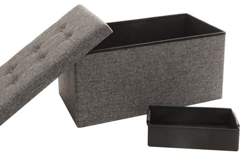 Seville Classics Foldable Storage Bench Ottoman