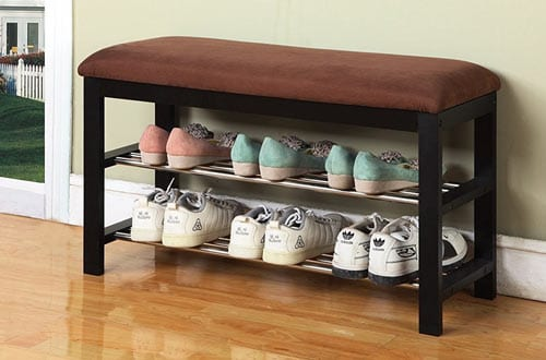 Micro Fabric Shoe Rack Storage Organizer & Hallway Bench
