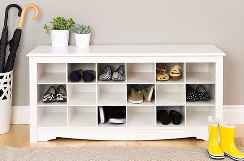 Prepac White Shoe Storage Cubbie Bench