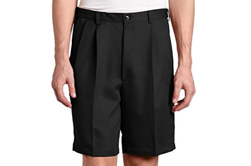 Hidden Expandable-Waist Pleat-Front Short