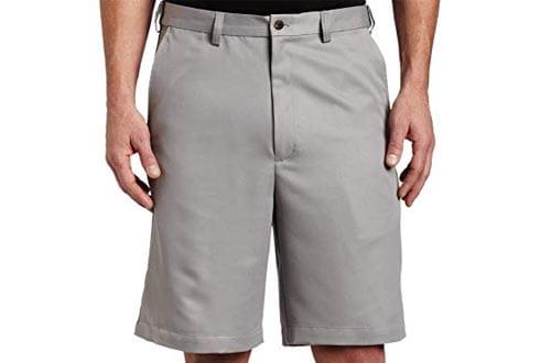 Gabardine Hidden Expandable-Waist Plain-Front Short