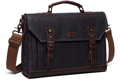 Vaschy Vintage Genuine Leather Canvas Messenger Bag Laptop Briefcase Satchel Shoulder Bag