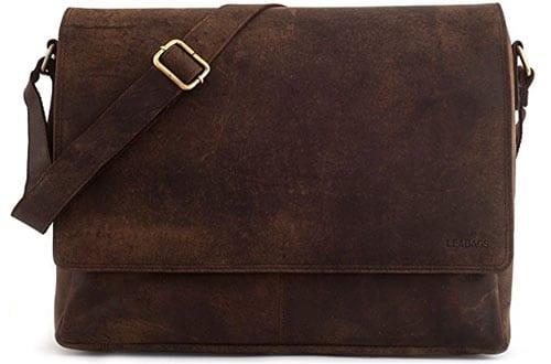 leather messenger bag in vintage style