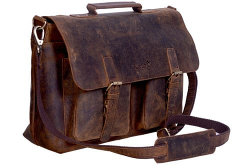 Buffalo Hunter Leather Laptop Messenger Bag