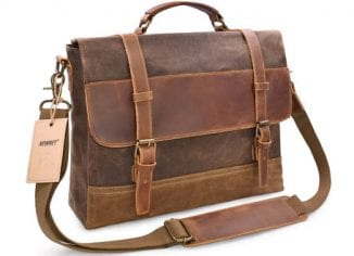 NEWHEY Mens Messenger Bag Waterproof Canvas Leather Computer Laptop Bag