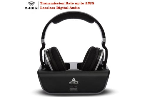 Wireless TV Headphones, Artiste ADH300 2.4GHz Digital Over-Ear Stereo Headphone for TV