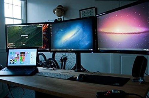 EZM Deluxe Triple Monitor Mount Stand Desktop