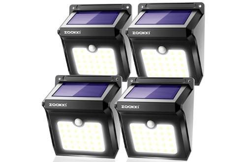 Solar Motion Sensor Lights Outdoor, ZOOKKI 28 LEDs Waterproof Solar Powered Wall Lights