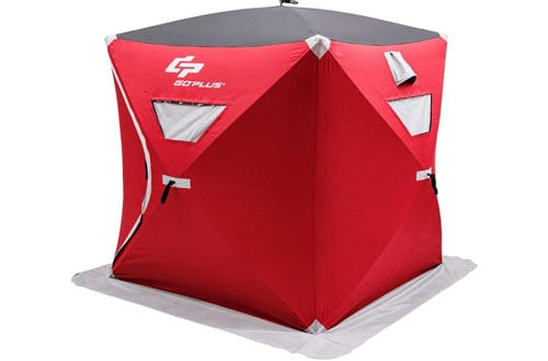 Goplus 2-person Ice Shelter Portable Pop-up Ice Fishing Tent Shanty