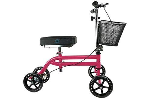 KneeRover Steerable Knee Walker Scooter in HOT PINK