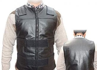 Men's Black Genuine Leather Motorcycle Biker Vest