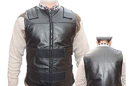Men's Black Genuine Leather Motorcycle Biker Vest