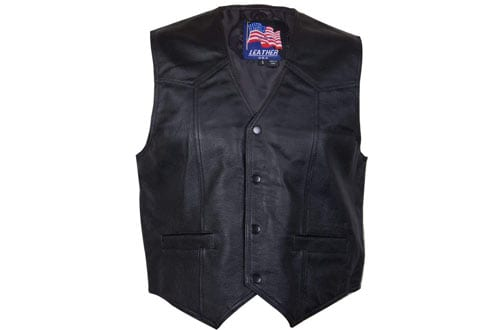 Mens 201 Classic Style Black Leather Vest - Large