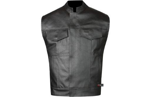 True Element Mens Swat Team Style Leather Motorcycle Vest