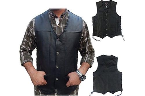 Fit Men's Genuine Leather Motorcycle Biker Vest