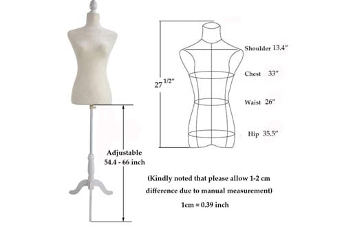 Bonnlo Female Dress Form Pinnable Mannequin Body Torso