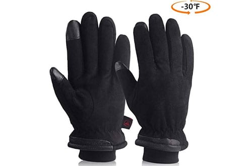 OZERO Cold Winter Gloves with Suede Leather Warm Protection