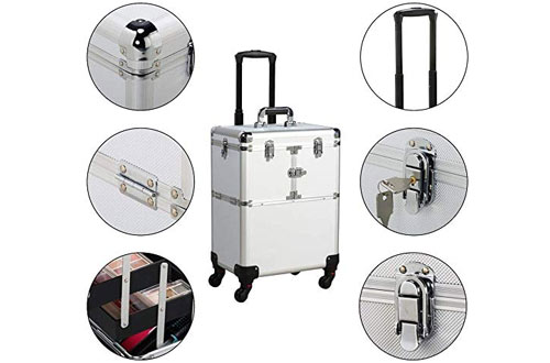 Yaheetech Professional Rolling Makeup Case -Cosmetic Organizer with Handle