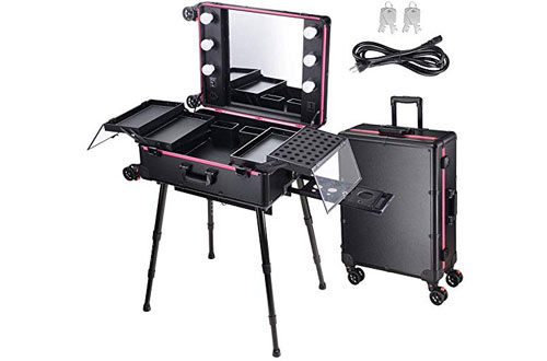 AW Rolling Makeup Case with LED Light Mirror