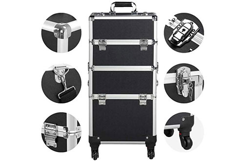 Yaheetech Professional Rolling Aluminum Trolley Cosmetic Train Case