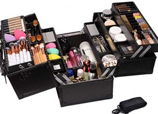 Professional AdjustableMakeup Train Case -Cosmetic Storage Organizer Box with Lock